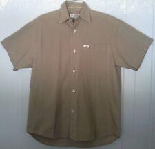 Men's GUESS Khaki Tan Button Casual Short Sleeve Shirt 100% Cotton Sz 2 (L)