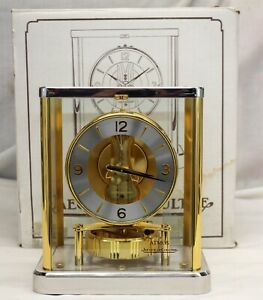 scarce Jaeger-LeCoultre ATMOS Clock CAL. 540 BI-COLOR Mantel 1990's ORIGINAL BOX