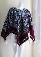 Fiber Artist -Exquisite Wool Handmade Embroidered Purple Cape Coat Wool S M L