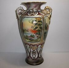 Antique NIPPON Porcelain VASE Hand Painted Gold Gilt Scene 12""