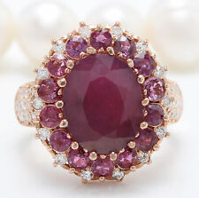 Women Natural Red Ruby and DIAMOND 8.60 CTW in 14K Solid Rose Gold Women Ring