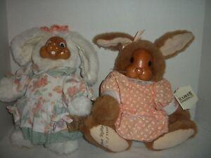Lot of 2 Robert Raikes Wooden Face Plush Rabbit Dolls~Buttercup & Aunt Marylou