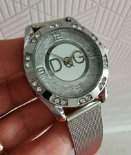 Reloj pulsera señoras D&G Hebilla Correa De Malla Detalle Cristal Cromo fijar