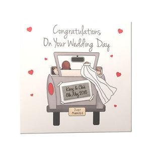 Personalised Congratulations Bride&  Groom Wedding Car Gift Greeting Card