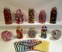 10 Food Grade Plastic Sweet Jars 2 Tongs 50 Bags TWO STYLES OF LID Candy Buffet