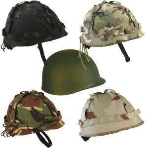 KIDS ARMY HELMET + COVER US M1 REPLICA COMBAT HAT BOYS CAMO WW1 WW2 DRESS UP