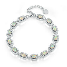 Hot White Opal Zircon Silver for Women Jewelry Wedding Gift Chain Bracelet OS663