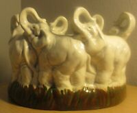 Holland mold ceramic 6 elephant herd trunks in the air no chips perfect cond