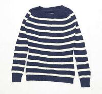 Fat Face Womens Size 8 Striped Cotton Blend Blue Jumper (Regular)