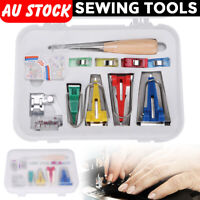 16Pcs Set Bias Tape Maker Kit for Sewing & Quilting Awl and Binder Foot Tools AU