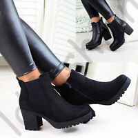 New Womens Ladies Ankle Chelsea Boots Zip High Block Heel Casual Shoes Sizes 3-8