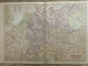 1882 CENTRAL EUROPE RAILWAY MAP ORIGINAL ANTIQUE COLOUR MAP BY W.G. BLACKIE