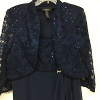 R & M Richards Gown Mother of Bride Navy Blue 2 Pc Chiffon Sequins Lace 14W