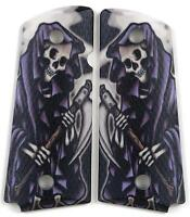 Custom Compact Officer 1911 Grips Ambidextrous Grim Reaper for Colt Sig etc.