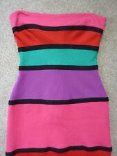 River island multicoloured striped bodycon, short sleeveless dress. Size 10