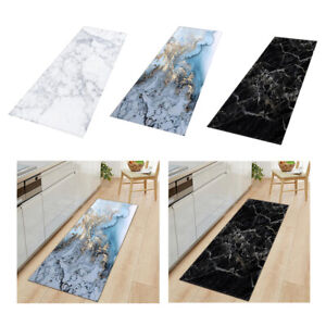 Short Plush Floor Mat Marble Pattern Area Rug Runner Rugs Hallway Hall Floor Mat