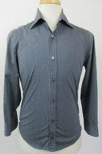 HUGO BOSS Men's Cotton Blend Casual Shirt, Small, Blue & Gray Stripes - MINT