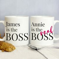 Personalised The Real Boss Mug Set For Him and Her, Add Couples Names Gift