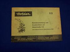 ORIGINALE lista parti di ricambio per HOLDER E3 MOTOZAPPA 1965 - rarità