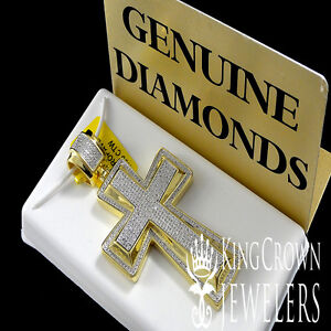 14K YELLOW GOLD FINISH REAL GENUINE DIAMOND JESUS CROSS CHARM PENDANT 0.50 CTW