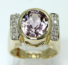 Diamond kunzite ring 14K 2 tone gold oval round brilliant 4.70CT 11.4 GM size 6