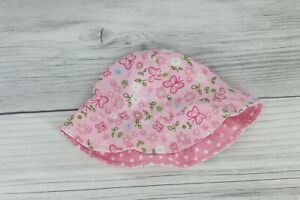 Reversible Baby Girl Sun Hat Floral Polka Dot 6-12 Months Pink