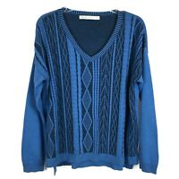 Woolrich Blue Cable Knit Sweater Cotton Wool V-Neck Fisherman Womens Size M