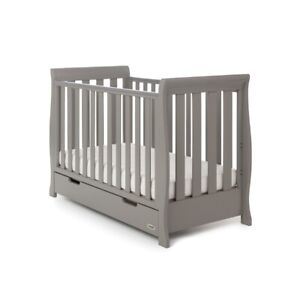 Obaby Stamford Mini Sleigh Cot Bed - Taupe Grey - Under Drawer Included