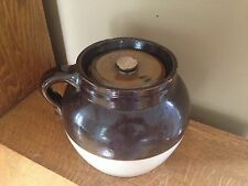 VINTAGE ANTIQUE STONEWARE- 1 LOOP HANDLE BEAN POT PRIMITIVE #3 CROCK POT & LID