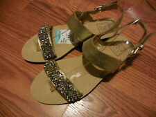 DV by Dolce Vita Jeweled Leather Flats Sandal  Size 6 M-- Gold Tan