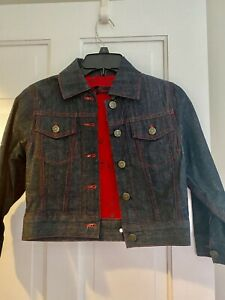 Lip Service Cropped Denim Pinup Girl Lined Jacket XS