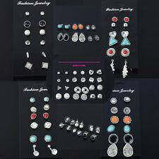Chic Women Pearl Crystal Rhinestone Heart Ear Stud Triangle Earring Set Jewelry