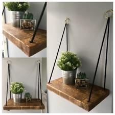 Hanging Rope Shelf - Hanging Shelves - Rustic Wooden Shelf - Gold Hoops