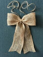 "Rustic Natural Burlap 6"" wide Bow for Wedding Pew Wreath Decoration"