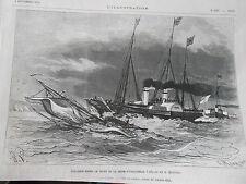 Gravure 1875 - Collision entre le Yacht l'Alberta et le Mistletse