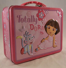 Collectible Totally Dora the Explorer Pink Tin Metal Lunch Box Storage