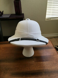 Indian Pith Helmet - White The wider brim and flatter top became the Bombay