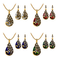 Peacock Diamante Crystal Drop Necklace Pierced Drop Earrings Jewellery Set AS68