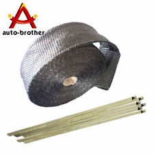 Black Uinversal 2'' 50Ft Exhaust Header Fiberglass Heat Wrap Tape+6 Ties Kit