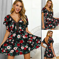 Women Mini Boho Floral Dress Summer Short Sleeve V Neck Evening Party Sundress