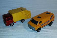 2x alte Spielzeugautos/Vintage toy cars MATCHBOX: Chevy Van / Refuse Truck