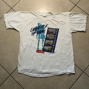 Rare Vintage 90s Grand Prix Miami Diet Coke Promo T-Shirt Large VTG Single Stitc