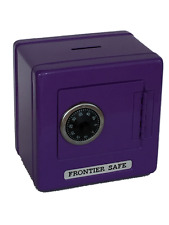 "Purple Kids Metal Safe Bank Piggy Bank Cash Box with Combination Lock 5.25"" H"