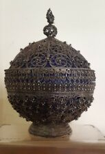 ANTIQUE ISLAMIC OTTOMAN TURKISH PERSIAN FILIGREE SOLID SILVER BONBON BOWL BOX