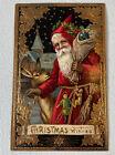 Beautiful Antique Santa Claus Postcard Gold Gilding Reindeer Christmas Toys Old