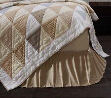 JOANNA Ticking Stripe Queen Bed Skirt Dust Ruffle Tan Ruffle Country Farmhouse