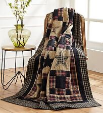 """Revere Quilted Throw, 70""""x55"""", Primitive Star , Black, Red & Cream, Embroidered"""