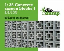 DioDump DD153 Concrete screen blocks 1:35 scale -  50 laser cut pieces diorama