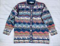 Icelandic Design M Cardigan Sweater Blue Floral Wool Button Cottagecore Vtg