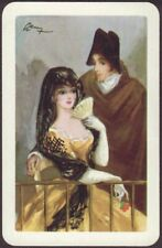 Playing Cards 1 Single Card Old Vintage SPANISH COUPLE Girl + Man ARTIST SIGNED